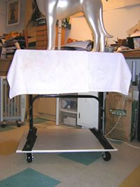 my drafting table on top of the rolling platform