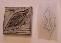 Sue's hand carved leaf stamp